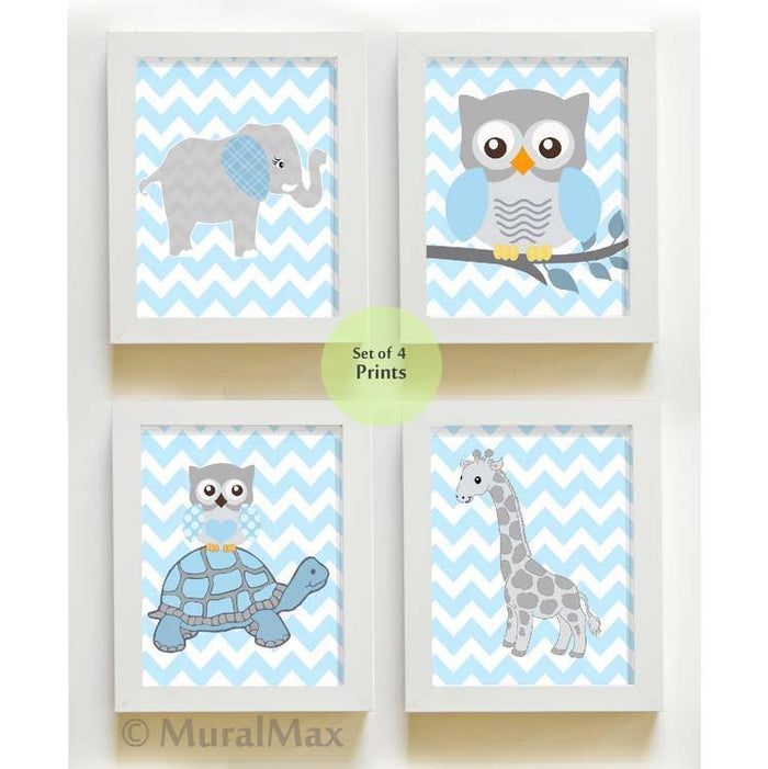 Zoo Animals Baby Boy Nursery Decor - Blue Gray Baby Nursery Art - Unframed Prints - Set of 4