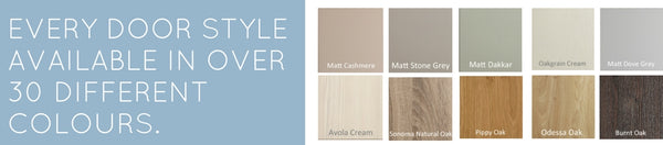 Every vinyl kitchen door style available in over 30 different colours