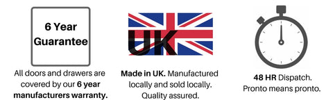 Made in UK, Kitchen doors in stock, Six year guarantee with our kitchens