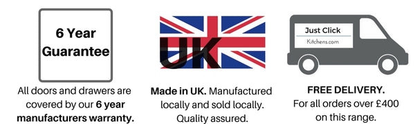 Six year guarantee on our kitchens, manufactured in UK, Free delivery
