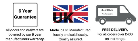6 year guarantee on all kitchens, kitchens made in UK, Free delivery