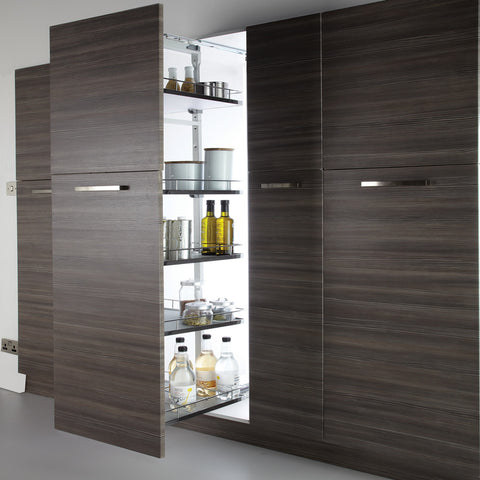 500mm W Six Tier Adjustable Full Height Pullout Larder - Just Click Kitchens