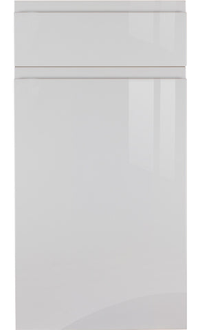 Handleless Light Grey High Gloss Kitchen Doors - Just Click Kitchens