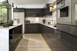 Jayline Handleless Graphite High Gloss Kitchen Doors & Drawer Fronts - Just Click Kitchens