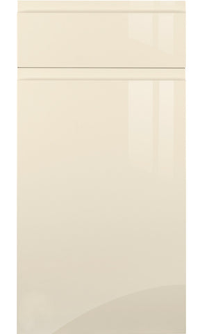 Handleless Cream High Gloss Kitchen Doors - Just Click Kitchens