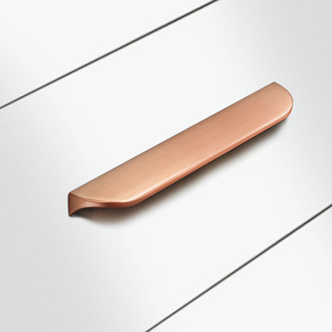 Nick Brushed Copper Lip Pull Handles - Two Sizes Available - Just Click Kitchens