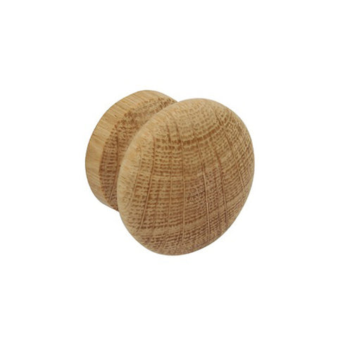 Pair of Paintable Unfinished Oak Wooden Door Knobs - Two Sizes Available - Just Click Kitchens