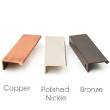 Ruby Modern Trim Inset Door Handles - Copper, Polished Nickle & Bronze
