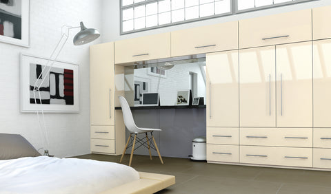 Cream High Gloss Acrylic Wardrobe Doors - Just Click Kitchens
