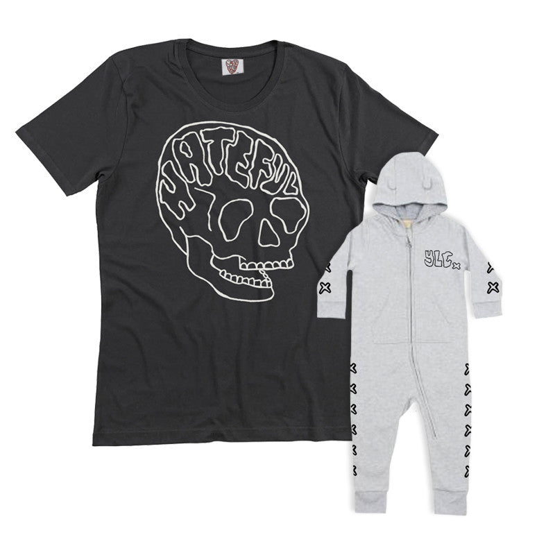 YLC BLACK HATEFUL TEE & BABY WHITE BODY SUIT BUNDLE