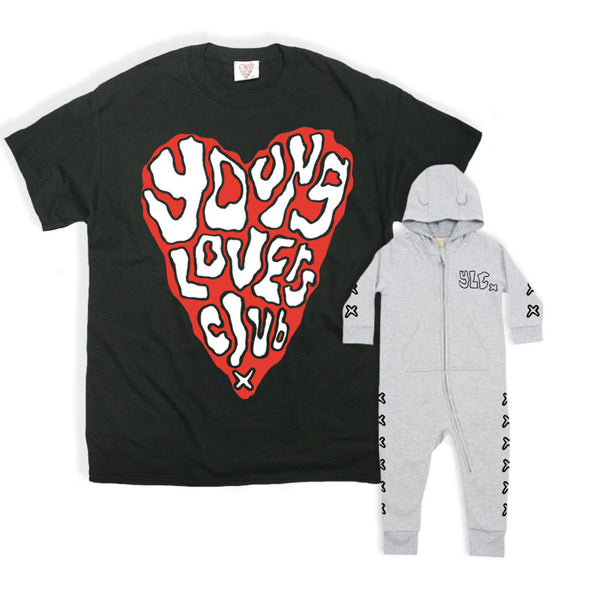 YLC BLACK HEART TEE & BABY WHITE BODY SUIT BUNDLE