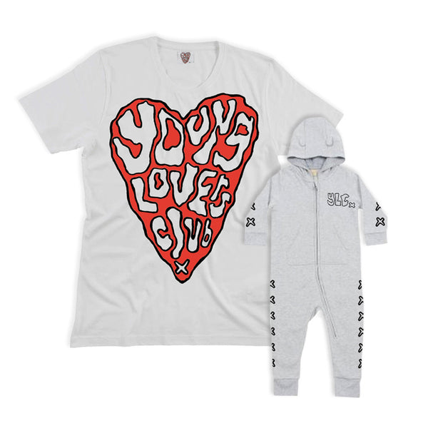 YLC WHITE HEART TEE & BABY WHITE BODY SUIT BUNDLE