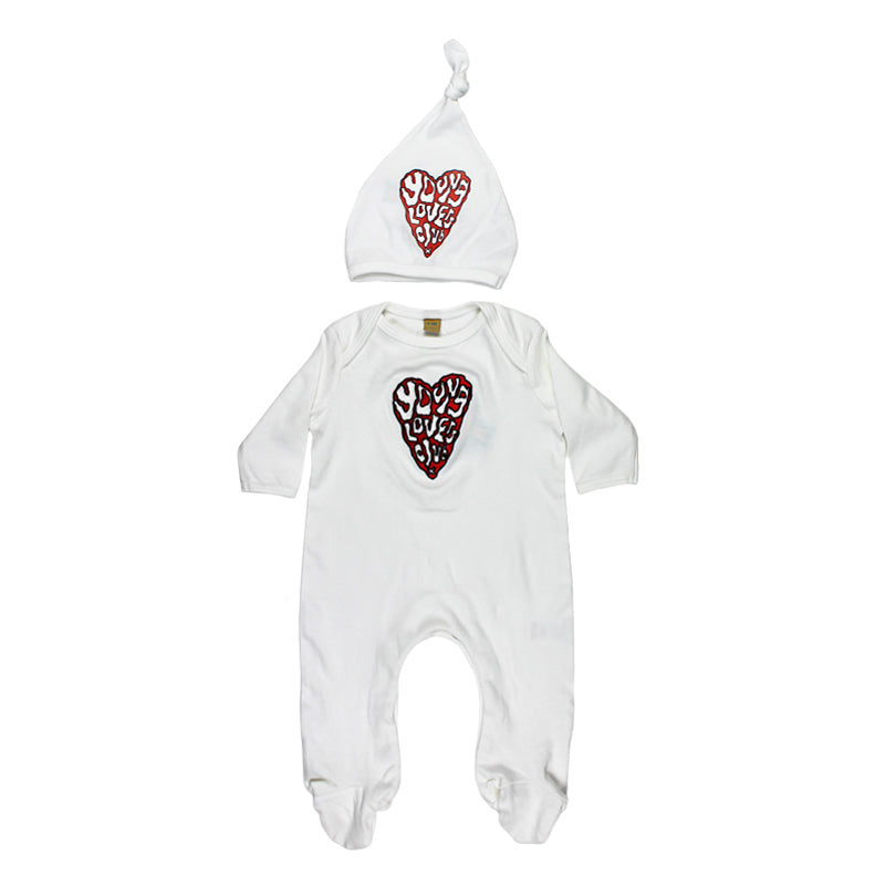 YLC EMBROIDERED HEART SLEEPSUIT