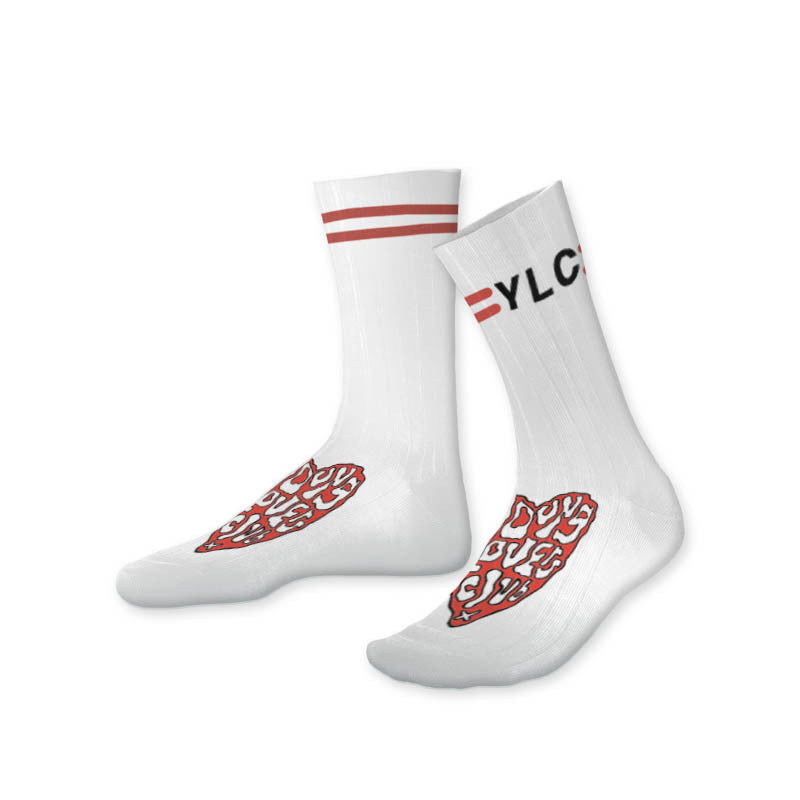 YLC HEART WHITE SPORTS SOCK