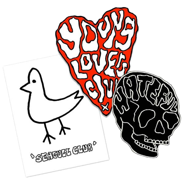 YOUNG LOVERS CLUB STICKER SET. SET OF 3