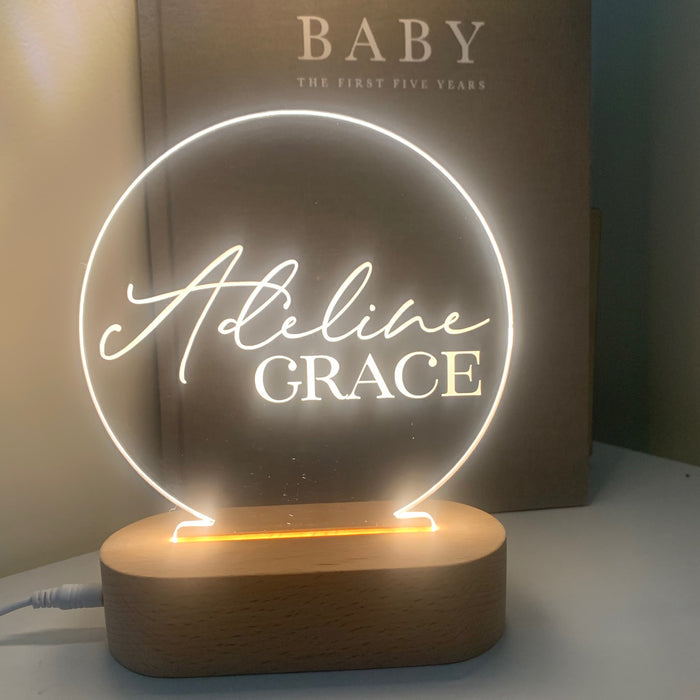 Round Personalised Night Light