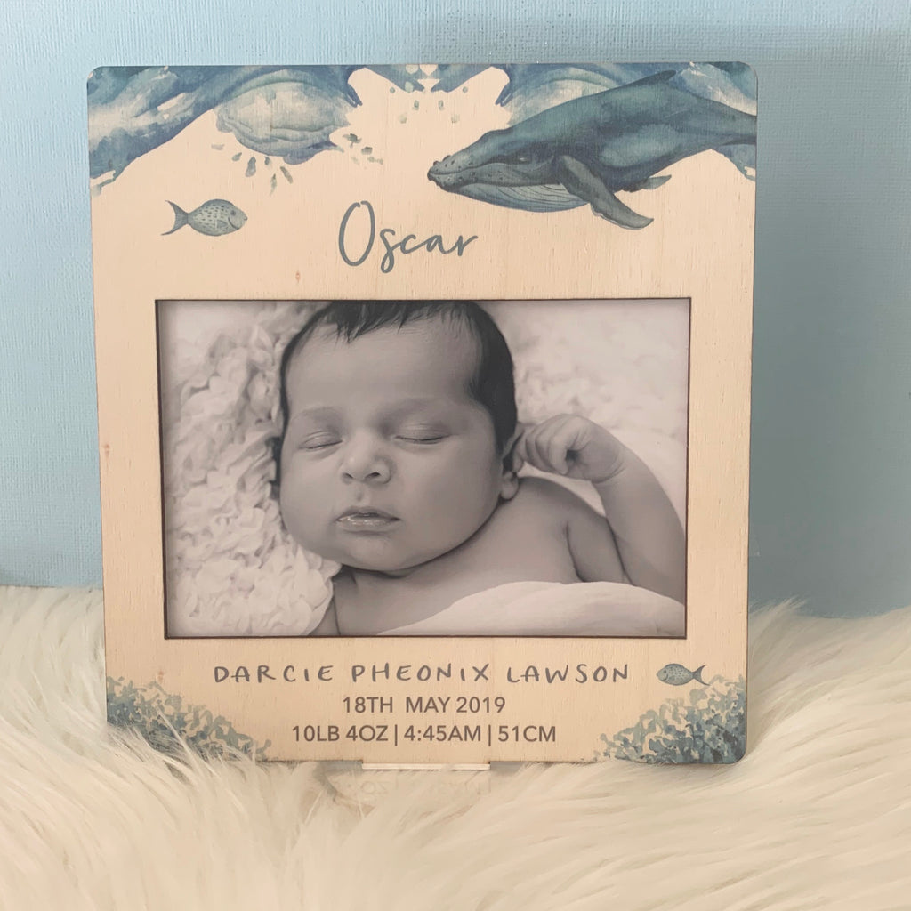 Whale - Printed Birth Photo Frame