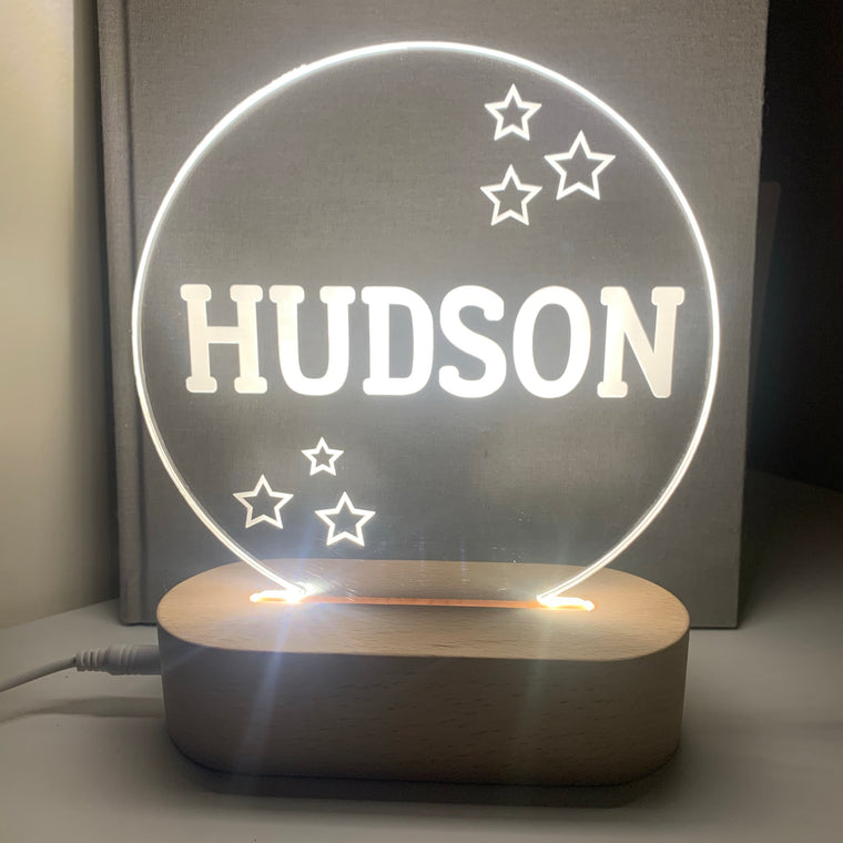 Round Star Personalised Night Light