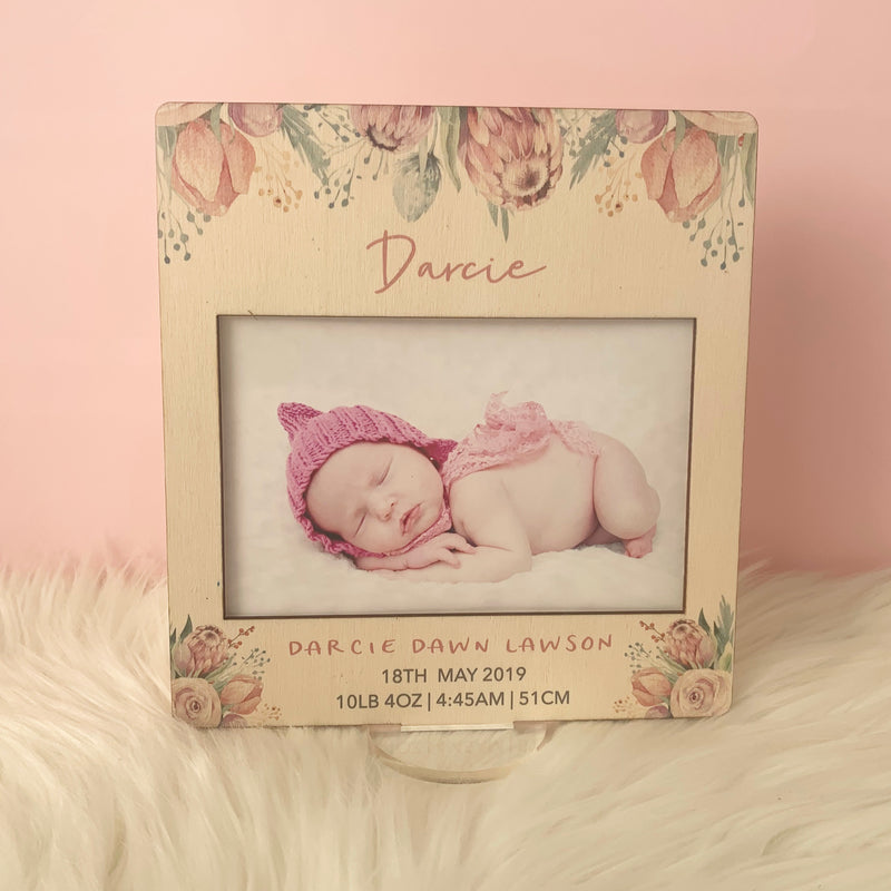 Protea- Printed Birth Photo Frame