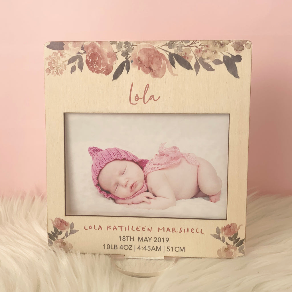 Pink Floral- Printed Birth Photo Frame