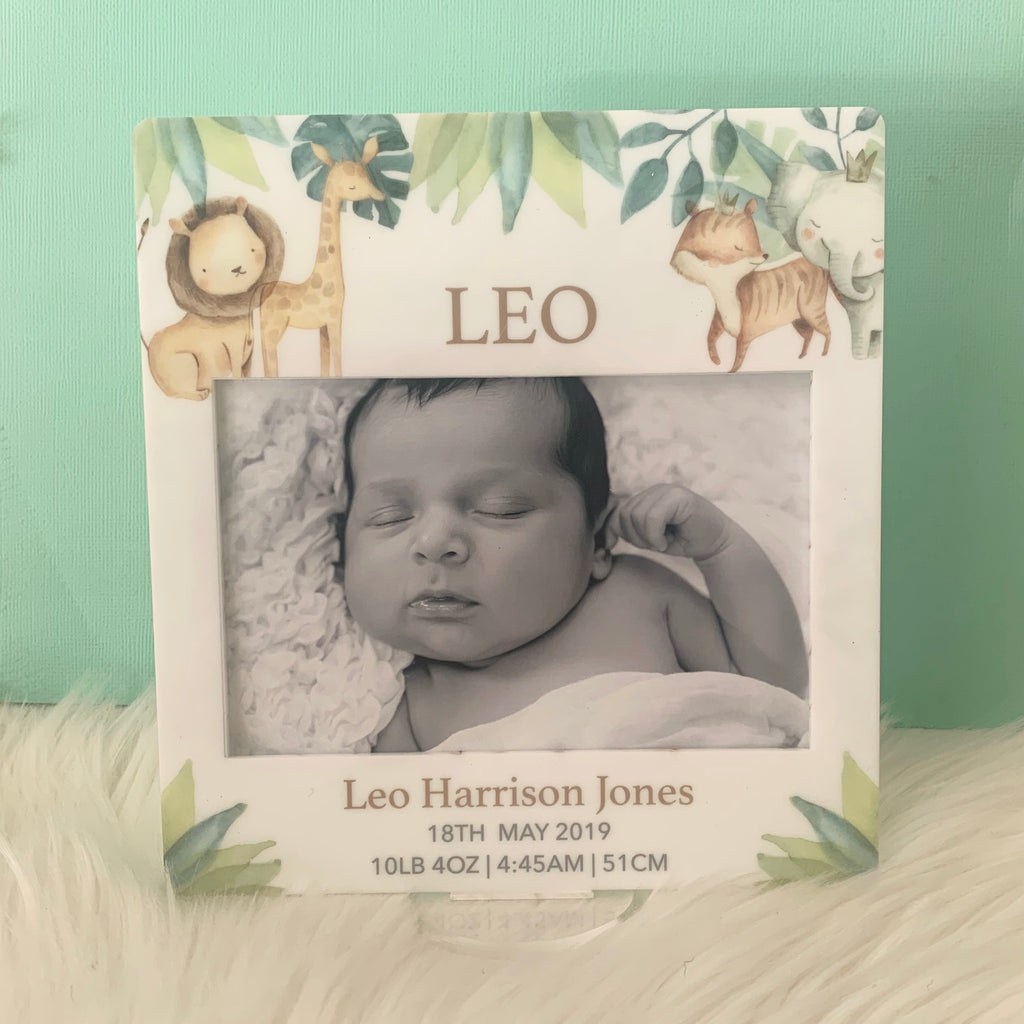 Safari Animals - Printed Birth Photo Frame
