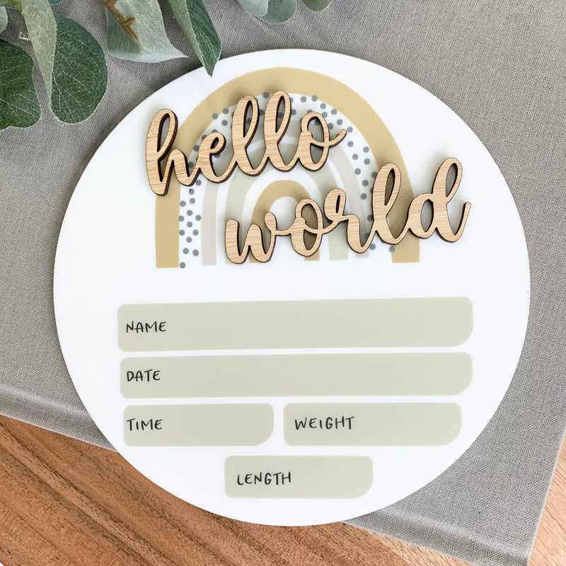 Neutral Rainbow Birth Announcement Plaque