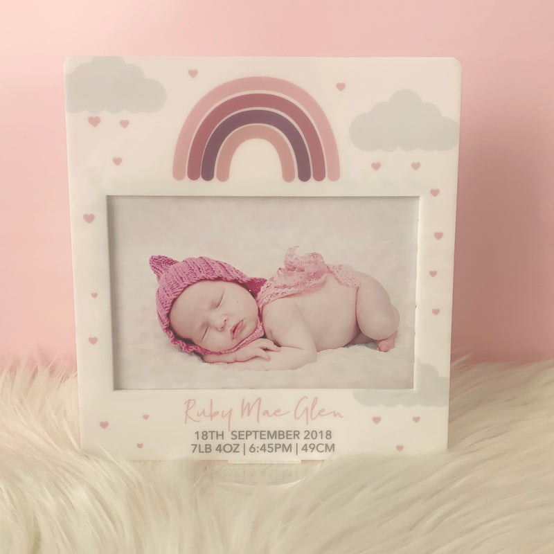 Pink Rainbow- Printed Birth Photo Frame
