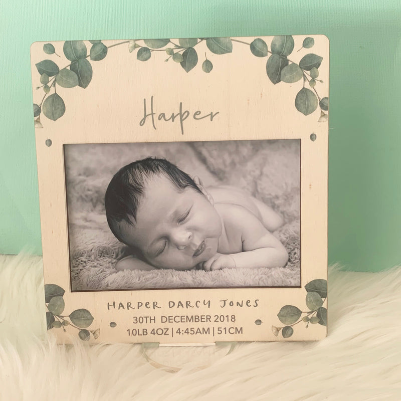 Green Leaf - Printed Birth Photo Frame