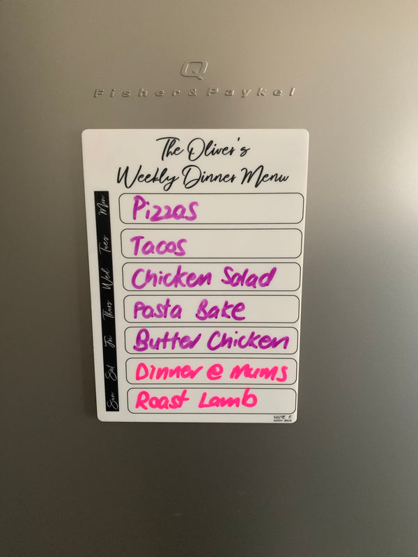 Weekly Dinner Menu - Reusable
