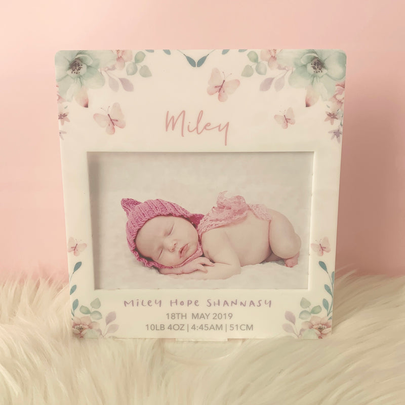 Butterflies - Printed Birth Photo Frame
