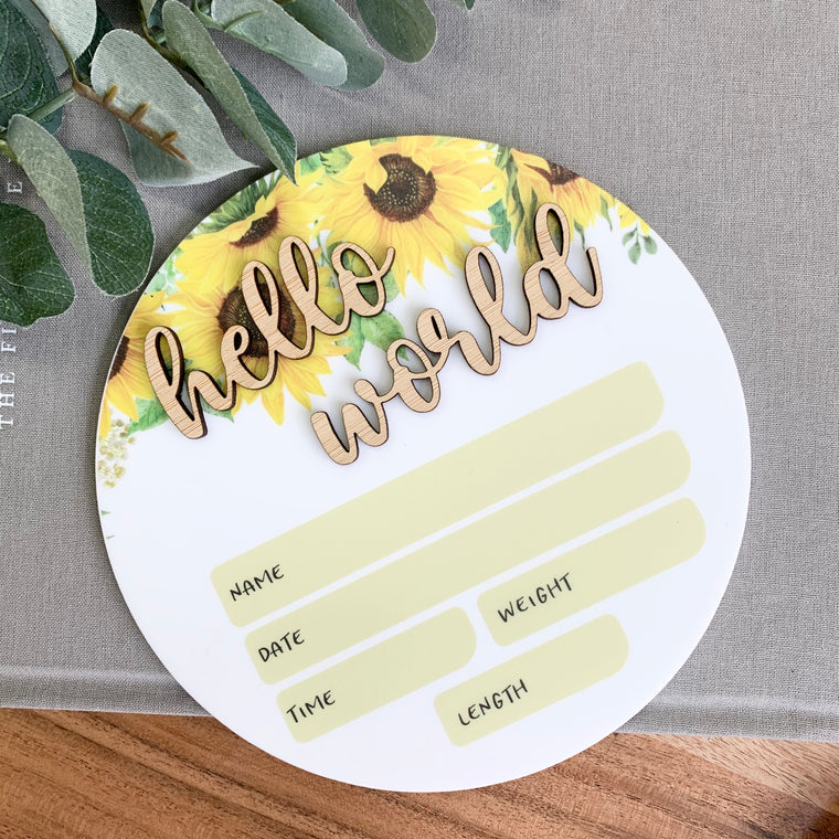 Sunflower Birth Announcement Plaque