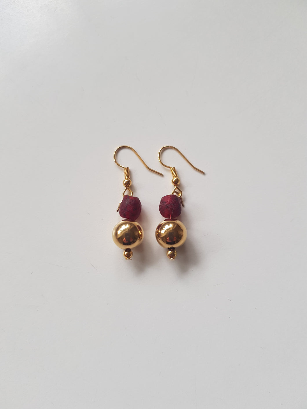 Gold plated earrings. Recycled glass beads from Ghana.
