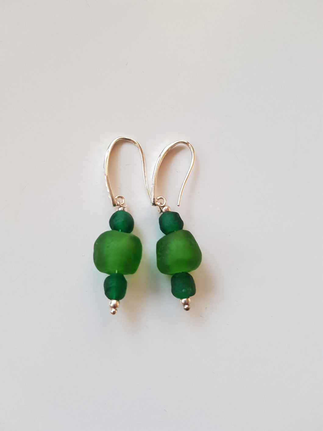 Silver earrings. Recycled glass beads from Ghana.
