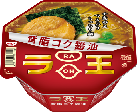 <!--114-->nissin<br>rao noodle soysauce 115g|日清<br>ラ王 背脂濃コク醤油<br>115g<br><br><small>贅沢なカップ麺。</small>