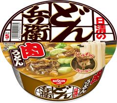 <!--109-->Nissin<br>meat Udon<br>100g|日清<br>どん兵衛 肉うどん<br>100g<br><br><small>じゅわり肉汁の旨み。</small>