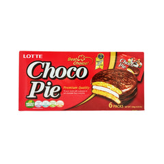 LOTTE<br>Choco Pie<br>6packs|ロッテ<br>チョコパイ<br>6個入<br><br><small>ケーキしっとり。チョコしっかり。</small>