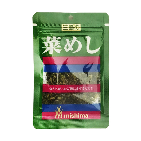 <!--004-->Mishima<br>vegetable rice sprinkle<br>18g|三島<br>菜めし<br>18g<br><br><small>3種類の青菜の食感をお楽しみ下さい。</small>