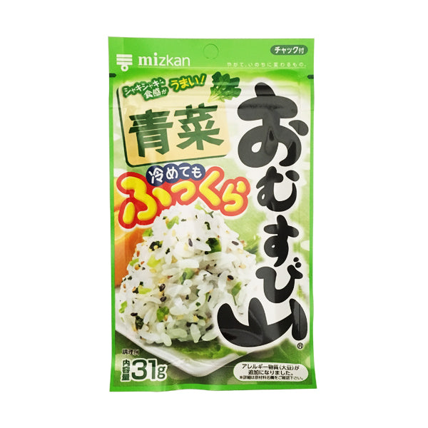 <!--101-->Mitsukan<br>Omusubiyama Aona (resealable)<br>31g|ミツカン<br>おむすび山 青菜 (チャック付)<br>31g<br><br><small>大根葉の風味のおむすびの素。</small>