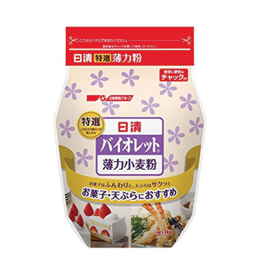 <!--010-->Nisshin<br>Violet Wheat Flour<br>1kg|日清<br>バイオレット薄力小麦粉<br>1㎏<br><br><small>色が白く、きめが細かい。</small>