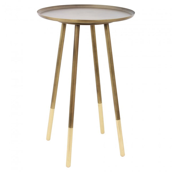 Warm two tone accent table with gold accents perfect to refresh your home.
