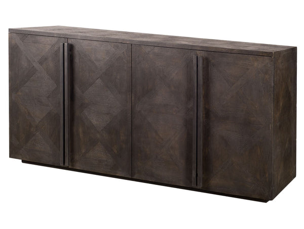 Tone-on-tone wood buffet with a very dark matte finish to refresh your home.