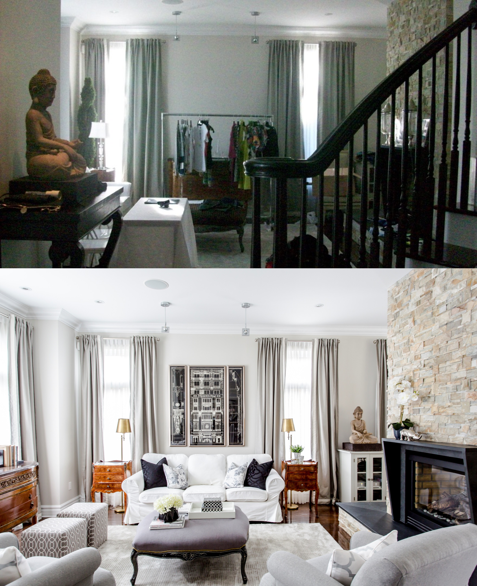 Dramatic before and after of Tanya's living room decor with Lux Decor's full consult service.