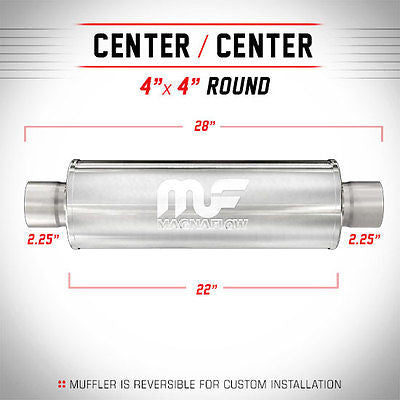 "2.25"" ID 4"" Round 22"" Satin Stainless Universal Magnaflow Exhaust Silencer 10435"