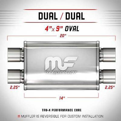 "2.25"" Dual 4x9 14"" Polished Stainless Universal Magnaflow Exhaust Silencer 14385"
