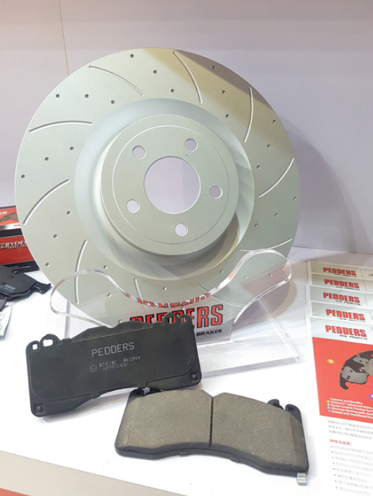 Pedders Suspension SportsRyder Slotted & Dimpled Rotor & Brake Pads (Front) Mustang 2015-18 #6720121