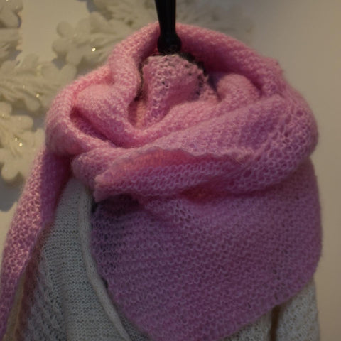 Shawl Mohair triangulaire rose