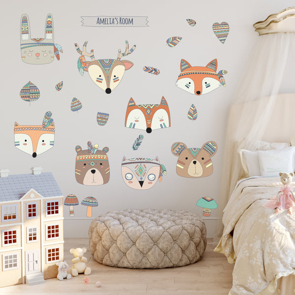 Personalised Woodland Animals Wall Sticker