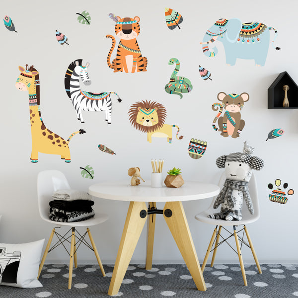 Jungle Animal Wall Stickers With A Tribal Design