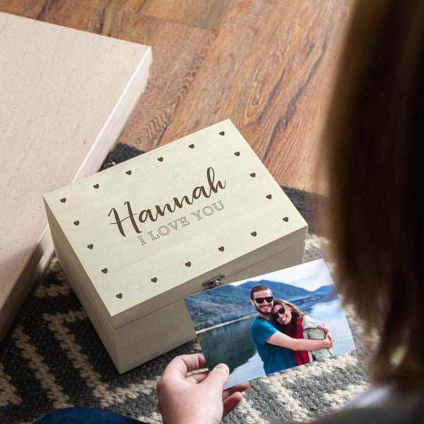 I Love You Personalised Wooden Keepsake Box