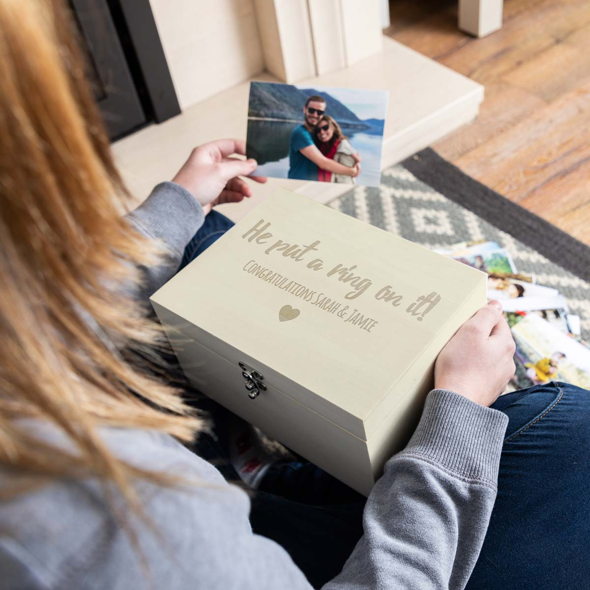 Personalised Engagement Keepsake Box